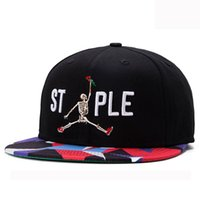 ball dancing steps - European style skeleton snapback cap rock ghost step dance version black baseball cap flat non mainstream hat man women run cap