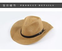 Wholesale Men panama straw hats Cowboy hat Wide brim sun protection hat Soft vogue for unisex Beach hat Summer UV protection caps Jazz hats colors