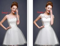 Wholesale Graduation Dresses Spring Summer clothing dress white party prom dress girl women T004