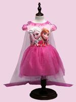 Anna manteau gelé France-DHL Filles Frozen dentelle paillette manteau robe 2 couleurs enfants belle princesse Elsa Anna dentelle robe cape manches bowknot court