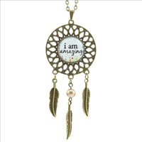 amazing quotes - 2016 Trendy Style I am Amazing Necklace Inspirational Quote Pendant Dream catcher Jewelry Wings Shaped Pendant DC