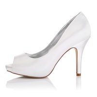Wedding Pumps Medium(B,M) Plain Upper in Nice Dyeable Satin Wedding Dress shoes Platform White Color Wholesale Women Bridal Wedding Shoes Made in China