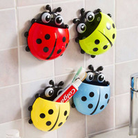 Wholesale New Ladybug Cartoon Sucker Toothbrush Holder Cute Suction Hook Tooth Brush Rack Accessories Set Suction Cup Tool For Bathroom