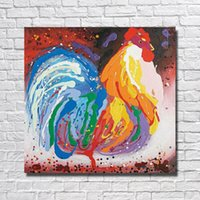 abstract chicken - Chinese Painting Hand made Chicken Oil Painting on Canvas Wall Art Home Decorative Modern Living Room Wall Pictures Hot Sale No framed