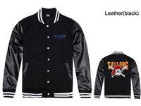 baseball fleece pullover - Leather wiz khalifa taylor gang baseball jerseys winter fleece warmer jacket hoodies mens pullovers hip hop rock rap clothing