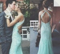 Cheap 2016 Sexy Open Back Long Mermaid Prom Dresses Halter Neck Aqua Crystals Beaded Tulle Floor Length Evening Gowns