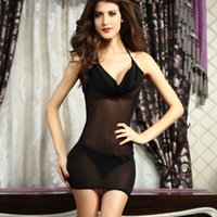 babydoll g string - New Sexy Plunging Cowl Chemise Black Purple babydoll lingerie sexy with G string women sexy lingerie hot