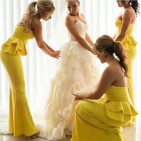 2017 Vestidos de boda largo vestido de dama de las colmenas Puplum sirena amarillo de dama de honor Vestidos de Moda