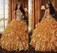 Wholesale 2016 Gold Quinceanera Dresses Sweetheart Beading Tiered Organza Detutante Dresses Sweet Dresses Prom Dresses Masquerade Ball Gown Dresse