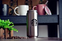 beverage cup lid - 500ml Starbucks coffee cup stainless steel vacuum cup creative beverage can coffe wine cup water glass