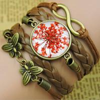 alloy composition - Time gemstone bracelet glass composition dried flowers Butterflies woven bracelet Alloy Alloy New fashion necklace