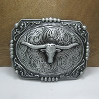 western belt buckles - Buckle Home heavy western bull head belt buckle with pewter finish FP with continous stock