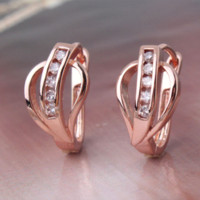 Wholesale Fashion Jewelry Match Riing K Yellow Gold Plated Hoop Earrings for Women Sapphire Blue Zirconia Wedding Earings E006f R028