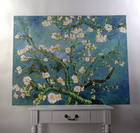 almond landscape painting - Handmade oil painting reproduction Branches with Almond Blossm by Vincent van Gogh