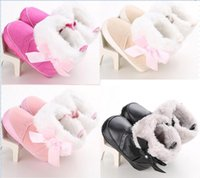 fluffy boot - 2016 Winter Fluffy Bow Princess snow boots warm baby shoes M soft kids shoes high top toddler snow shoes pairs C