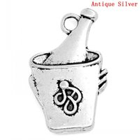 antique ice bucket - Charm Pendants Champagne or Wine In An Ice Bucket Antique Silver Pattern Carved x15mm Mr Jewelry
