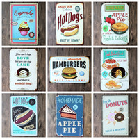 antique dog paintings - 2016 cm delicious apple pie hot dog hamburgers cupcake Tin Sign Coffee Shop Bar Restaurant Wall Art decoration Bar Metal Paintings