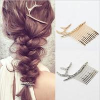 Wholesale Cute Little Deer Hair Comb Women Lady Elegant Hair Accessories Gold Silver Hair Jewelry Unique Design