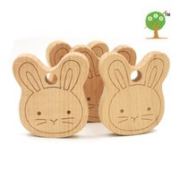 Wholesale 20pcs x mm DIY unfinished bunny ear carving wooden beech teether rattle inch DIY fitting Handcrafted baby gift EA56