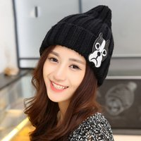 bell patch - Women autumn winter Cartoon puppy pattern wool knit hat pointy warm patch Solid color bell shaped cap