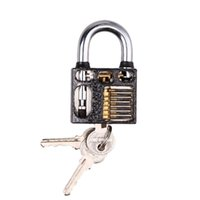 Wholesale New Visible Cutaway Practice Padlock Lock Lock Pick Lock Training Trainer Pick For Locksmith with keys E5M1 order lt no track