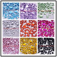 Wholesale 1110pcs Mix size Color pick D Round Acrylic Flat Back Rhinestone Nail Art Decoration deco supplies