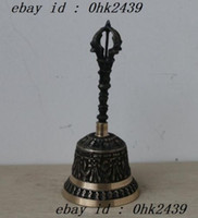antique brass bells - China old hand carved bronze bell Figurine Collectibles Statue