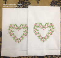 Wholesale Home Textiles Lot14x22 quot Beautiful linen Ladies Handkerchief with heart embroidered One Hemstitched Edges Hand Towel linen Guest Towel