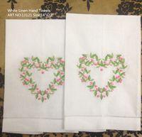 beautiful handkerchief - Home Textiles Lot14x22 quot Beautiful linen Ladies Handkerchief with heart embroidered One Hemstitched Edges Hand Towel linen Guest Towel