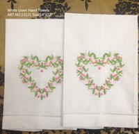 beautiful hand towels - HomeTextiles quot x22 quot White linen Beautiful Red heart embroidered Design Hemstitched Edges Hand Towels makes any guest feel welcome