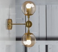 Wholesale Gold modo wall lamp modern wall sconce modo wall light glass shade lighting iron fixture wall lights globe globes golden color