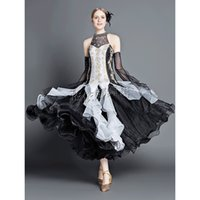 ballroom dance apparel - Custom made Woman s Modern Dance Latin Waltz Strap Dress Long Sleeves Lace Embroidery Long Dress Stage Dance Apparel