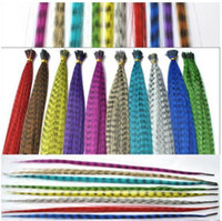 Wholesale Cheaper colorful Length inch cm colors Synthetic Available Grizzly Loop Feather Hair Extensions Hairpiece