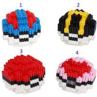 b puzzle - Poke go Poke Ball Minifigure DIY Building Blocks style Christmas Pikachu Diamond Brick D puzzle Toys Pocket Monster ball B