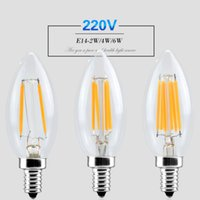 Wholesale Dimmable Led Filament light E14 W W W Bulb Lamp Candle cob Leds lampada led Retro Crystal chandeliers Lighting