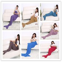Wholesale 190x90cm Fashion Knitted Mermaid Tail Blanket with Scale Super Soft Warmer Blanket Bed Sleeping Costume Air condition Knit Blanket Colors