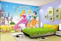Wholesale 3D Wallpaper Mural Custom D Photo Wallpaper D Mural Cartoon Princess HD Painting D Photo Sofa TV Background Wall Non Woven Mural Sticker