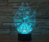 Wholesale LED Holiday Lamp D Bulbing Light Millennium Falcon shape Light Color Changing with Touch button D led small Night Light