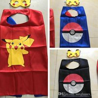 accessories teenage girls - 2pcs set Kids Pikachu Poke Ball Cape With Mask Boys Girls Double Layer Cosplay Cloaks Children Halloween Party Costumes Set cm PPA200