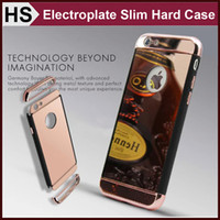amazon frame - For iPhone S Plus Mirror Case Electroplate Frame Ultra thin Hard PC TPU Leather Hybrid Cover HOT Sale Amazon DHL