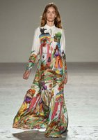 big floral shirt - Elegant original inhabitants fruit print long sleeve lapel shirt runway dress aboriginal floral boutique dress big show catwalk full dress