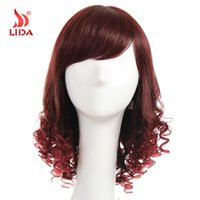 Wholesale Lida Human Hair Wig A Brazilian Virgin Hair Wig Human Hair Wig quot Long Straight and Curly Wig For Women Color T2