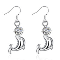 Boucle d'oreille de la mode des femmes Lovely Crystal Eye Dolphin CZ Stud Boucles d'oreilles 925 Sterling Silver Jewelry