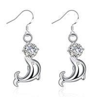 Boucle d'oreille de mode féminine Lovely Crystal Eye Dolphin CZ Stud Earrings 925 Bijoux en argent sterling Cute Ear Accessories