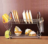 Wholesale Modern Stainless Steel Plate Dish Cup Plate Knife Drying Drain Rack Layer Bowl Sink Holder Kitchen Storage Organizer Tableware Kitchen Too