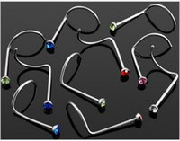Wholesale OP New Arrival Hot Sale Curved Nose Ring Rhinestone Stud Bar Body Piercing Jewelley Stainless Steel Free Ship