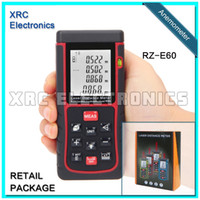 Wholesale Retail Package RZ E60 m ft Laser distance meter with bubble Rangefinder Range finder Tape measure