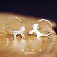 Wholesale 925 Sterling Silver Cute Cat Earrings For Women Girl Lovely Kitty Tud Earrings Hypoallergenic Sterling silver jewelry