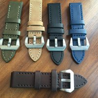 Wholesale Genuine Leather Thicken Watch Strap mm mm mm Crazy Horse Leather Watch Accessories Luxury Men Watch Belt with Stainless Steel Buckle