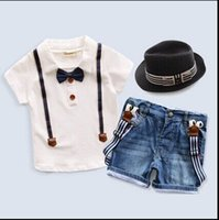 Wholesale 2016 new kids clothing set baby boy cotton t shirt short pants children set for summer boy cartoon clothes fits colors T